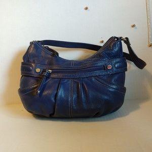 Tignanello Blue Leather Zipper Closure Bag